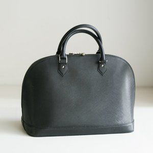 Pulicati Black Italian Leather Alma Style Bag